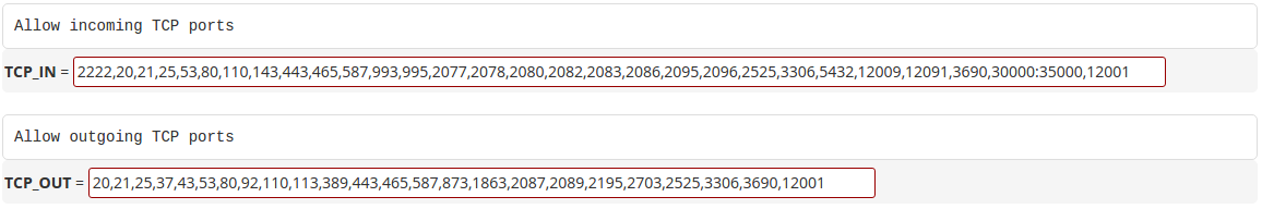 Opening ports via WHM interface Firewall/CSF